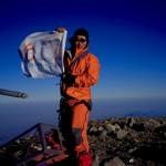 At the summit of Orizaba. The Society for the Physically Disabled's flag flying high!
