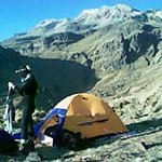 Our camp at La Hoya, with Izta in the background