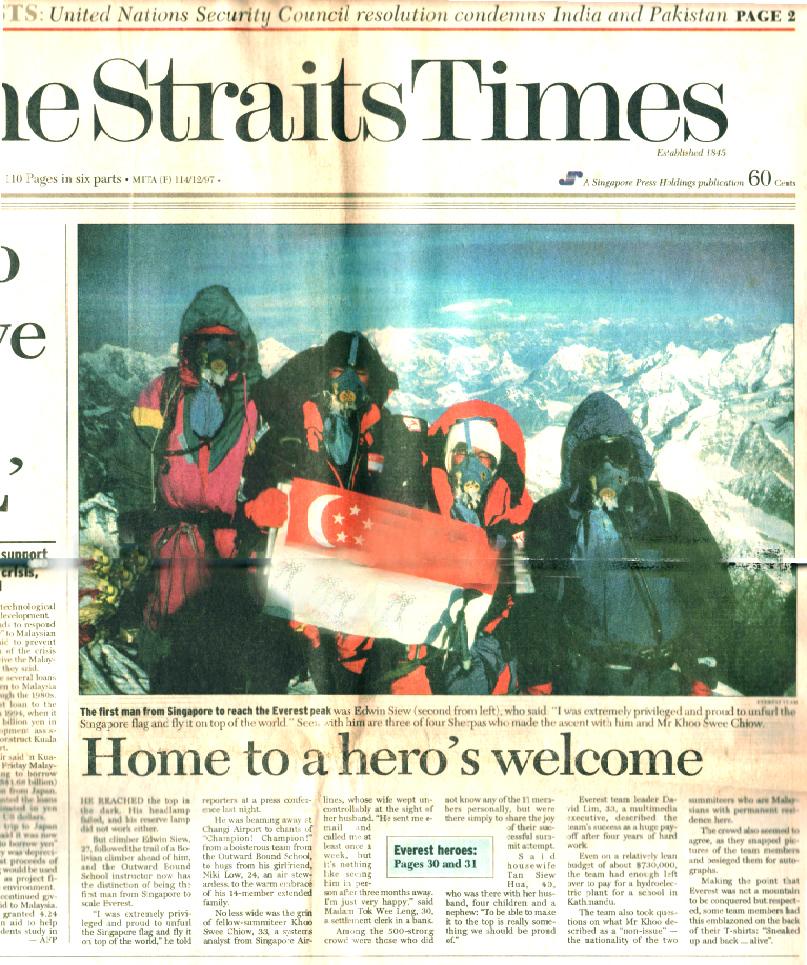 1st Singapore Mt Everest Expedition 1998   David Lim's