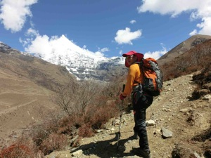 Over 4000metres in Bhutan,  with views of the stunning spire of Jitchu Drake on the horizon